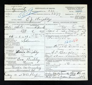 Here is the death certificate for his youngest child, Ezra who was also known as EJ.