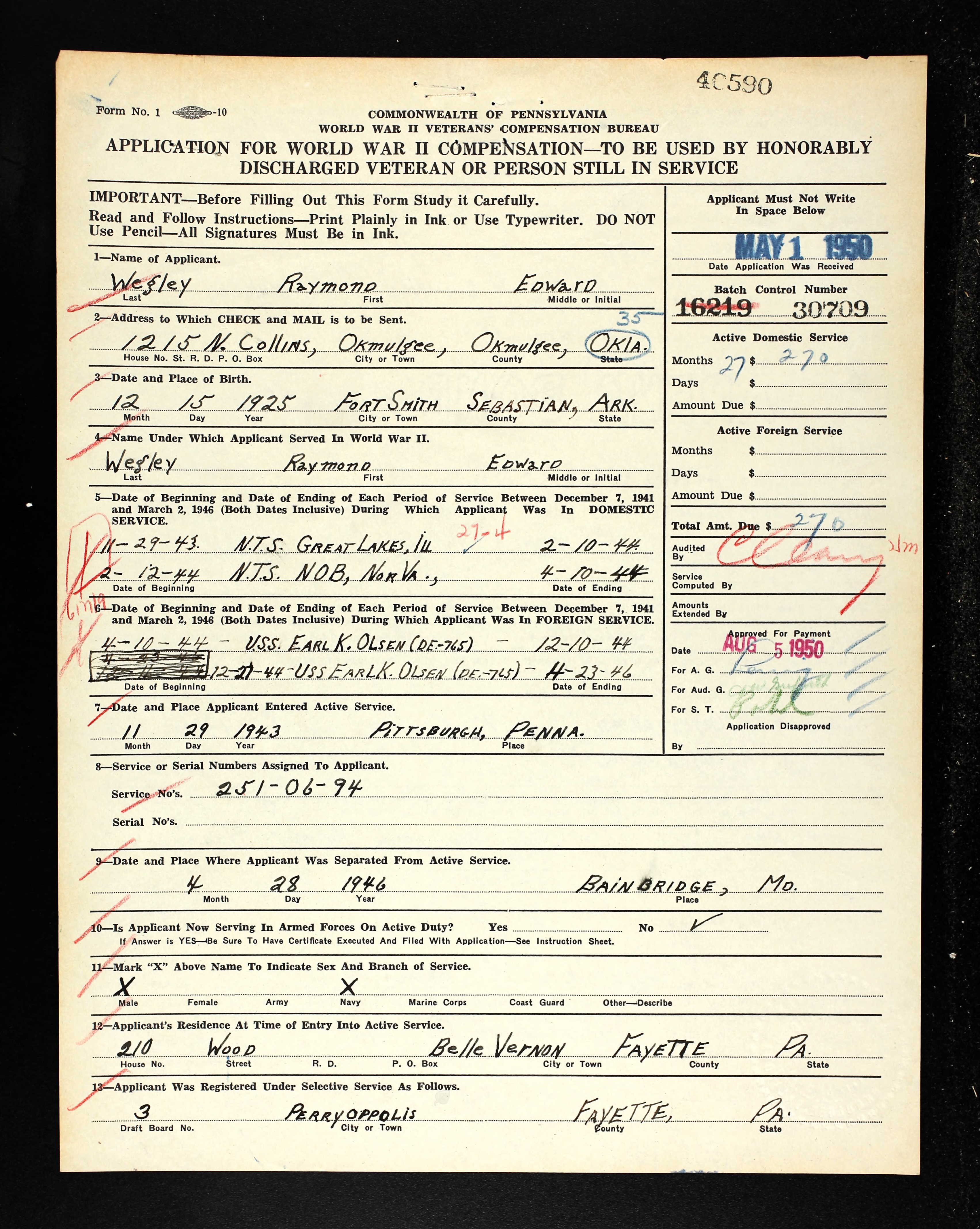 Arkansas tracy and family penn veteran compensation application wwii raymond wegley 1betcityfo Image collections