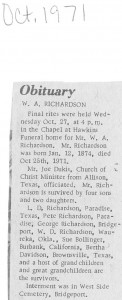 William Alexander Richardson Obit