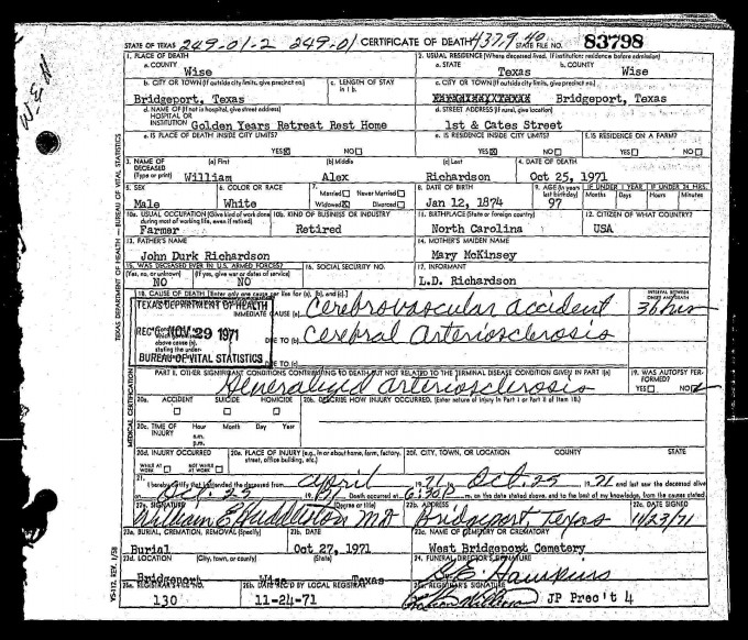 William Alexander Richardson Death Ceritificate 1971