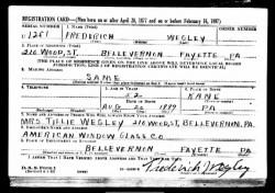 fred wegley - draft registration card wwII -1