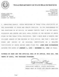 John Durk Richardson - Death Certificate
