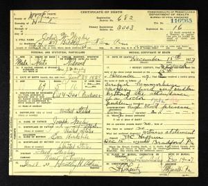 john wesley wegley death certificate