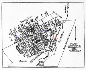 "Map of Waterfield 1638 Riichardson-Johnson — This map was constructed by the late George Cooke and George T. Littlefield of Winchester and is designed to show ""the approximate location in 1638"" of the lots in Woburn and Winchester which had been granted to the inhabitants of Charlestown. The descriptions of the lots, from which the compilers prepared their map, were taken from the Charlestown Book of Possessions. This land is situated in the westerly part of Winchester."