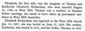 Thomas Richardson of Standon short biographical details from the book The Wymans: First Wyman Generation